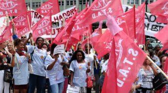 Trabalhadores da limpeza industrial em luta com greve e manif