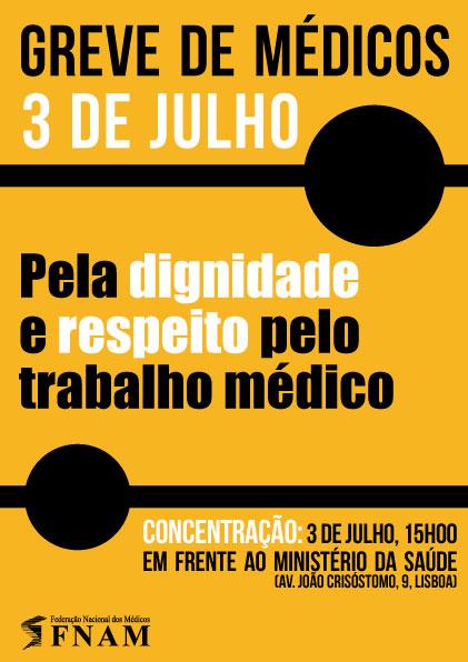 Médicos desgastados vão para a greve a 3 de julho